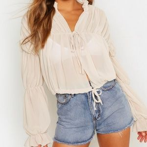 Ruched Tie Front Sheer Top